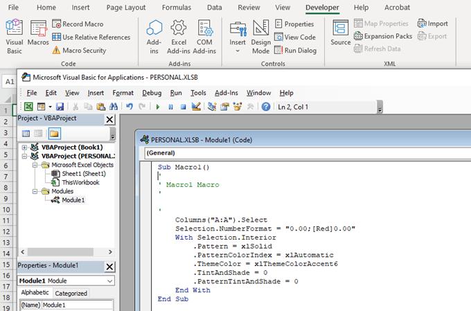 Comment creer une macro ou un script VBA dans